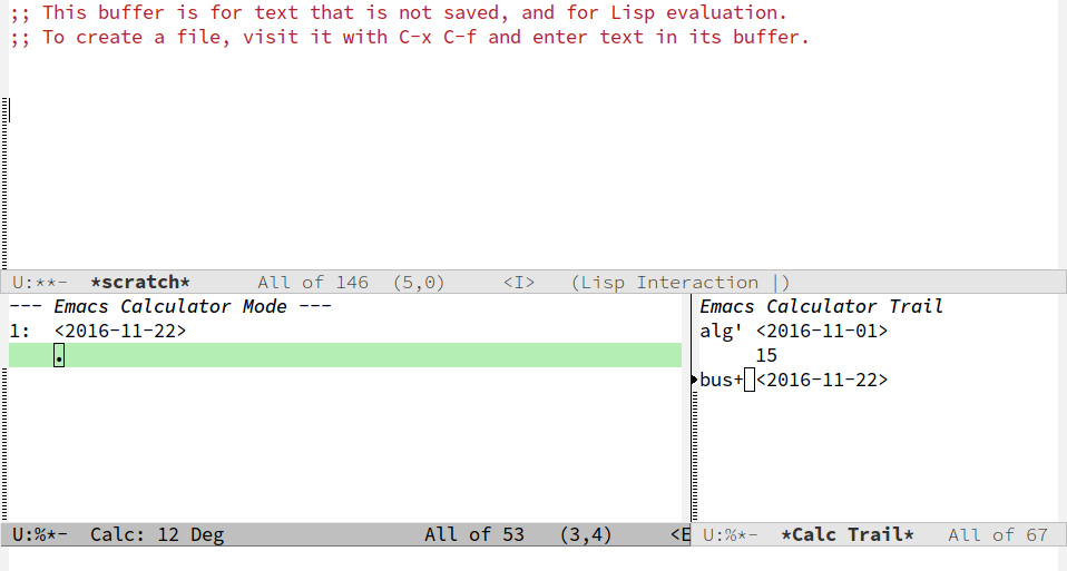 Screenshot of Emacs calc buffer after computing the business day offset.