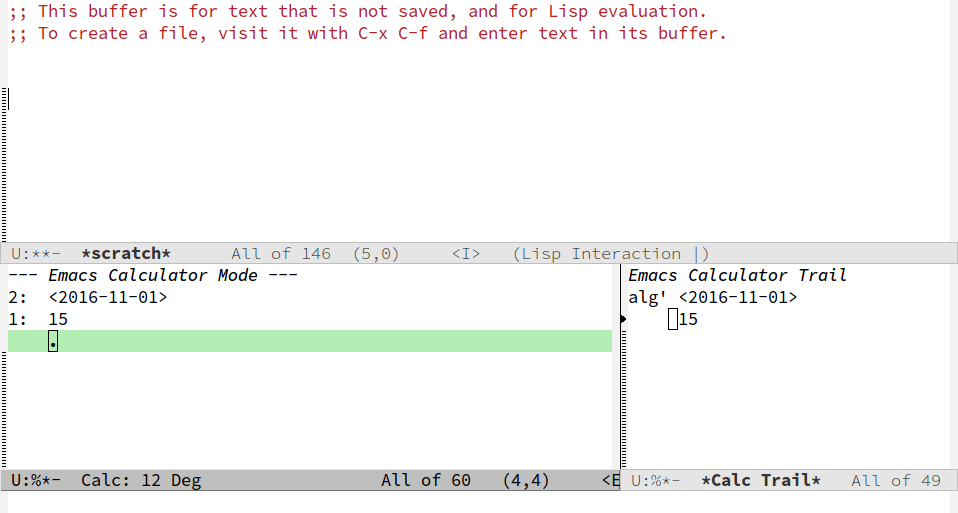 Screenshot of Emacs calc buffer with only data entered.